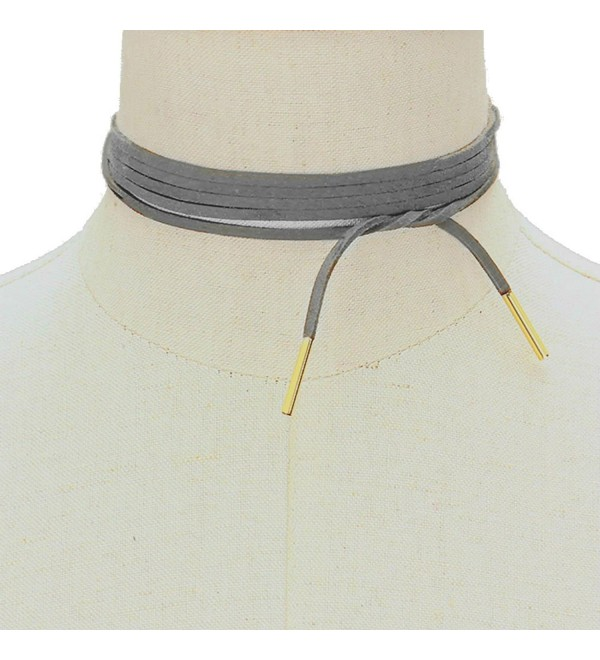 Ginga's Galleria Dark Grey Wrap Around Tie Choker Faux Suede Gold Metal Bar Tip Necklace - CV12N204DRY