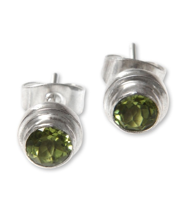 NOVICA Round Peridot and .925 Sterling Silver Stud Earrings- 'Green Simplicity' (.6 cttw) - CK127W260TZ