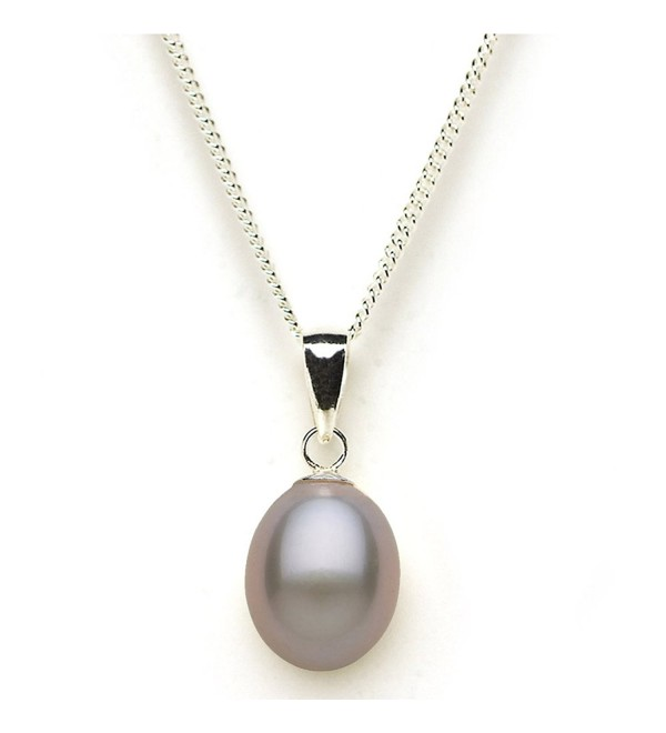 Exuisite Drop Shape Freshwater Cultured Pearl Pendant on Sterling Silver - Grey - CN1239TKWBR