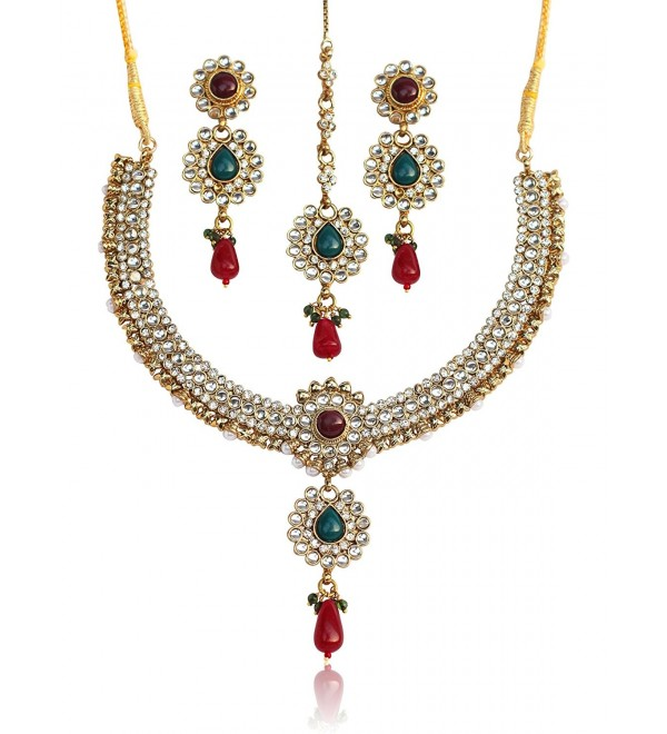 Touchstone gold tone Indian bollywood Kundan look red green colors party wear jewelry necklace for women - CH12NV1XTPY