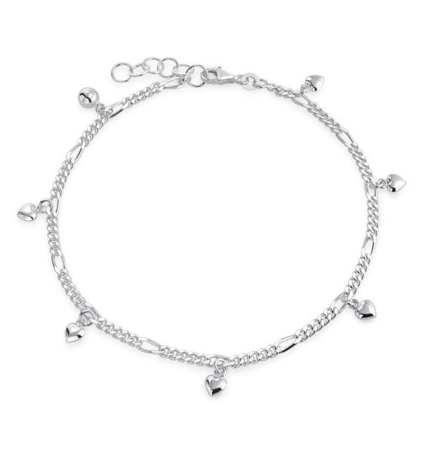 Bling Jewelry 925 Sterling Silver Dangling Hearts Ankle Bracelet 10in - C611LEKCHM1