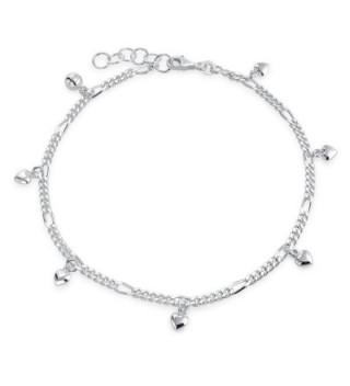 Bling Jewelry 925 Sterling Silver Dangling Hearts Ankle Bracelet 10in - C611LEKCHM1
