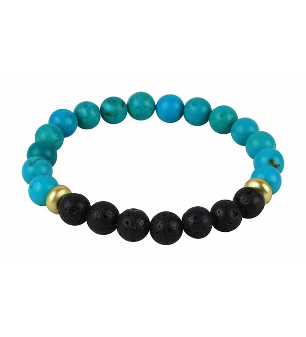 Fashion Turquoise and Lava Rock Essential Oil Beaded Bracelet- Essential Oil Jewlery 8mm Bead Size - Turquiose - CB1836KKKEM