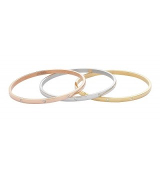 Stainless Tricolor Stackable Bracelet Zirconia in Women's Bangle Bracelets