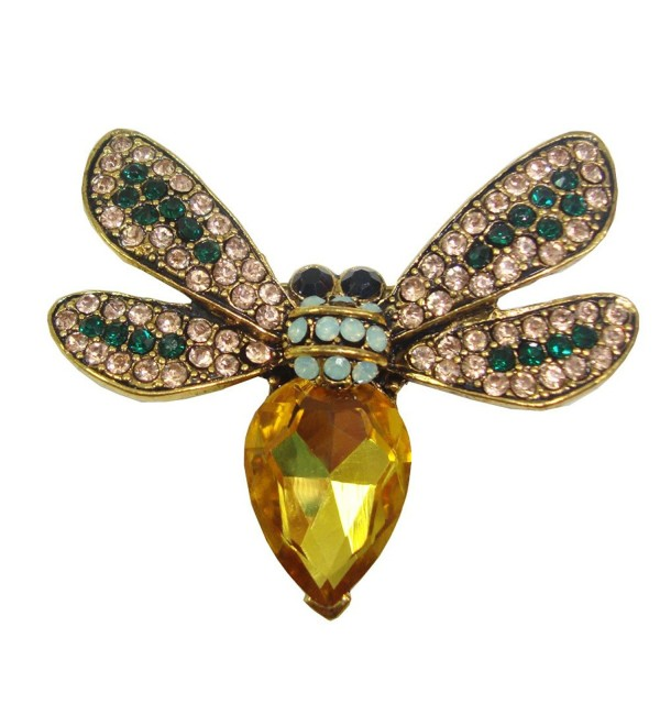 TTjewelry Fashion Jewelry Charming Bee Insect Woman Brooch Pin Yellow Rhinestone Crystal - CU12MACMN0P