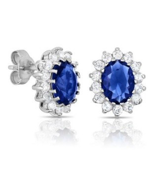 Sterling Silver Blue Sapphire CZ with White CZ Helo Jackets Princess Diana Kate Middleton Earrings - C911OTCHP7N