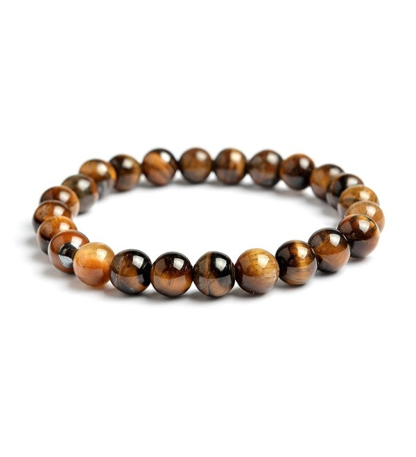 QIHOO Handmade Men Women Natural Gemstone Healing 8mm Beads Stretch Bracelet - Tiger eye stone - C9185HR432H