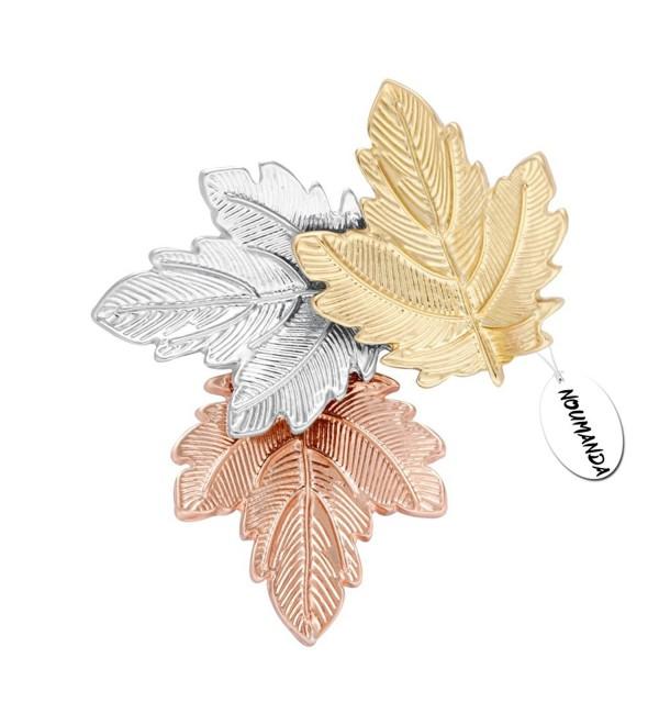 NOUMANDA Women Bijoux Autumn Leaf Jewelry Three Maples Leaves Brooch Pin - CW12MOI081N