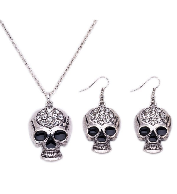 Halloween Crystal Skeleton Necklace Earrings - Silver - CB18530ZHZG