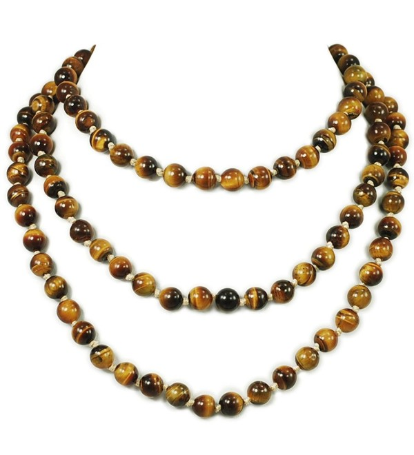"Ny6design Round Tigereye Beads Long Hand-Knotted Necklace 60"" N16111502d - CM12NTUMUBO"