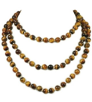 """Ny6design Round Tigereye Beads Long Hand-Knotted Necklace 60"""" N16111502d - CM12NTUMUBO"""