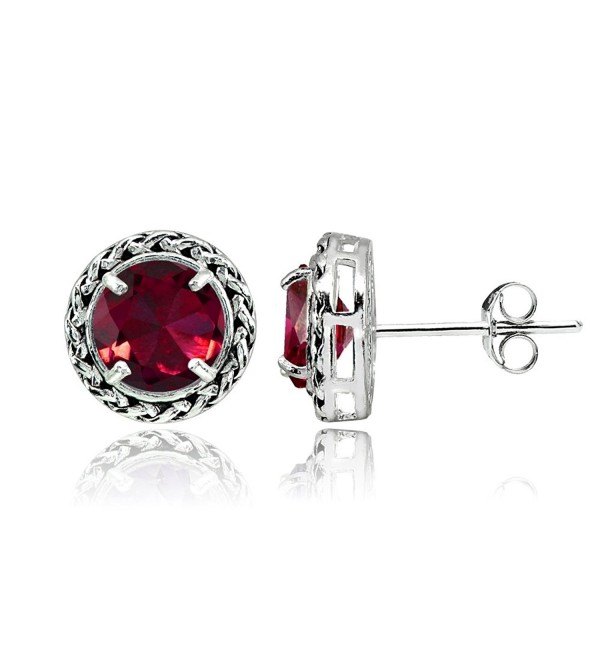 Sterling Silver Genuine- Simulated- or Created Gemstone Round Oxidized Rope Stud Earrings - Created Ruby - CL187RLWEDO