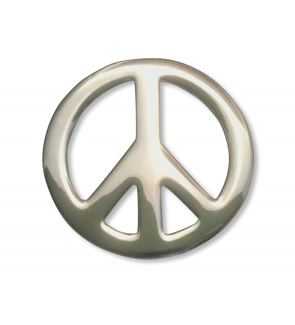 Hippie Peace Sign Jacket or Hat Pin Polished Silver Finish Pewter - CX11FATA9BB