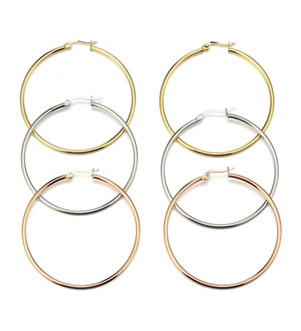 Mocalady Jewelers Womens 3 Pairs Stainless Steel Hoop Earrings Ear Loop Jewelry Set 40 MM/50MM/60MM - CN185T7MTKT