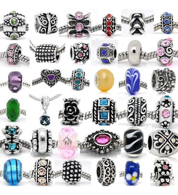 30 Beads Mix of Assorted Charms-Rhinestones Bead Charms- Glass Beads and Metal Spacers - CV11AKP4HJB