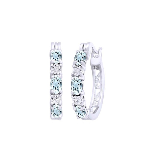 Simulated Aquamarine & White Cubic Zirconia Hoop Earrings In 14k Gold Over Sterling Silver - C712O67Z1DI