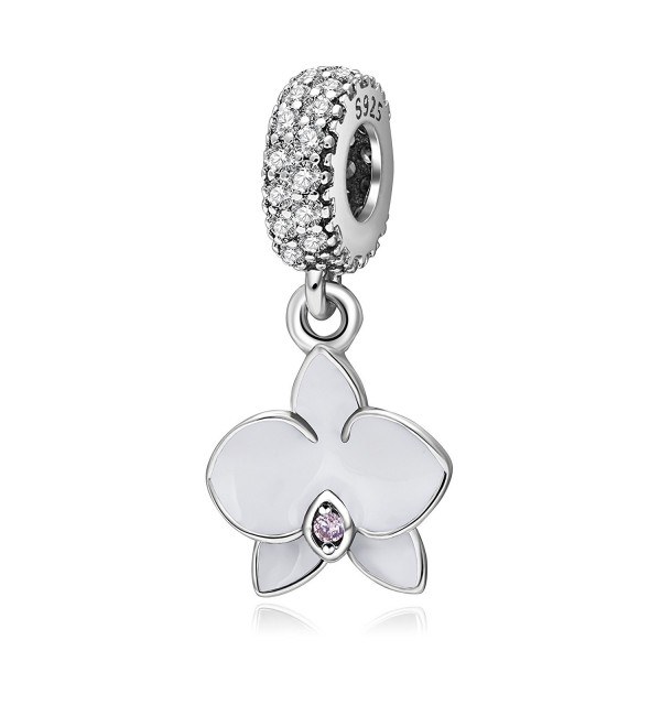 Orchid Charm with CZ Stone 925 Sterling Silver Flower Beads for Charms Bracelets - Dangling White - CE185LCENCT