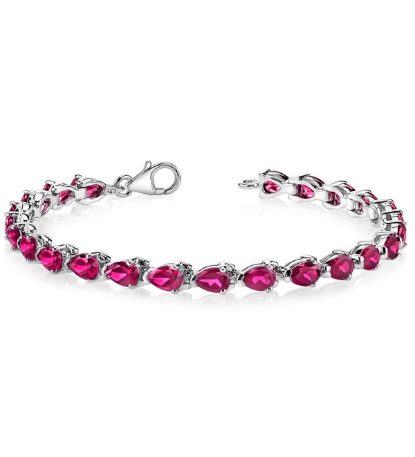 Created Ruby Bracelet Sterling Silver Pear Shape 9.50 Carats - CL1141DRN7H