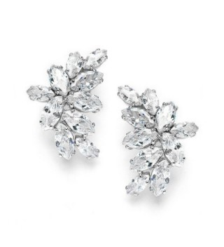 Mariell Cubic Zirconia Marquis-Cut Graceful Curved Cluster Bridal Wedding Earrings - Platinum Plated - C111ZP6UDK3