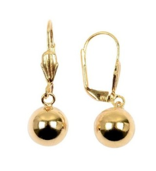 So Chic Jewels - 18K Gold Plated 10 mm Ball Leverback Dangle Earrings - C1125MB3UWX