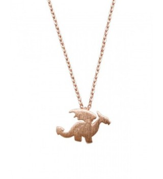 Womens Dragon Necklace Dainty Dragon Pendant Game of Thrones Charm Simple 17 in chain - Rose Gold - C5120D11FXX