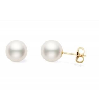 14k Gold AA+ Quality Japanese White Akoya Cultured Pearl Stud Earrings - CH11BELWSMT