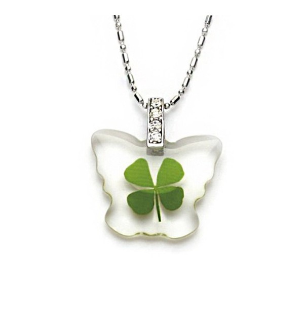 Stainless Steel Real Irish Four Leaf Clover Little Butterfly Pendant Necklace- 16-18 inches - CS11OVBIA8J