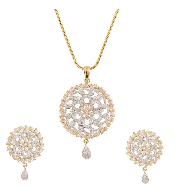 Swasti Jewels Floral pattern CZ Traditional Fashion Jewelry Set Pendant Earrings for Women - CJ129LT0TSP
