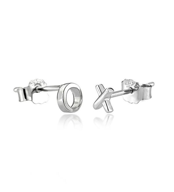 Wicary XO Mini Cute 925 Sterling Silver Earrings Ear Stud Earring for Women - CT126YCEP73