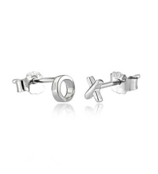 Wicary XO Mini Cute 925 Sterling Silver Earrings Ear Stud Earring for Women - CT126YCEP73
