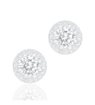 ORROUS & CO Legacy Collection 18K White Gold Plated Cubic Zirconia Halo Stud Earrings- Round - CO126M9O4EH