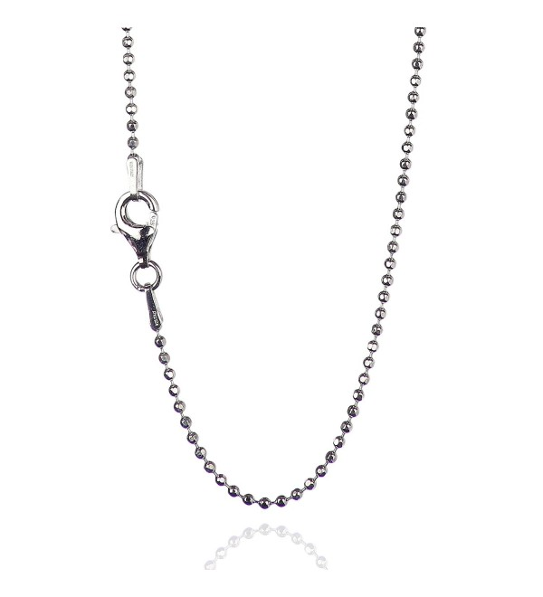 925 Sterling Silver 1.50 mm Diamond-Cut Bead Chain Necklace With Pear Shape Clasp-RHODIUM FINISH - CF12NZ1H7KV
