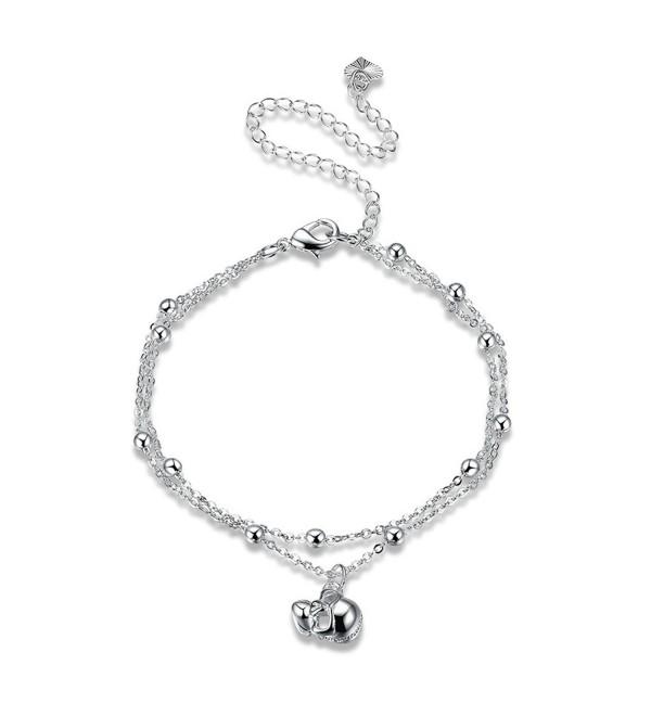 Beydodo Silver Plated Anklet Bracelet for Women Skull Pendant Silver 20+10CM Girls Beach Foot Jewelry - CA184TNZ99S