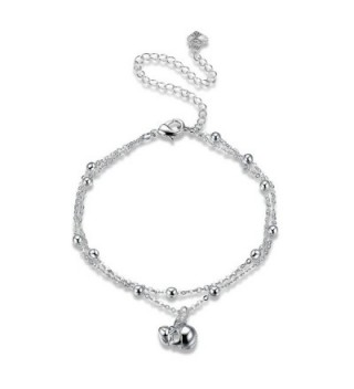Beydodo Silver Plated Anklet Bracelet for Women Skull Pendant Silver 20+10CM Girls Beach Foot Jewelry - CA184TNZ99S
