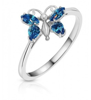 Sterling Silver Cubic Zirconia Simulated Blue Topaz Butterfly Ring - CX1842N5LH2