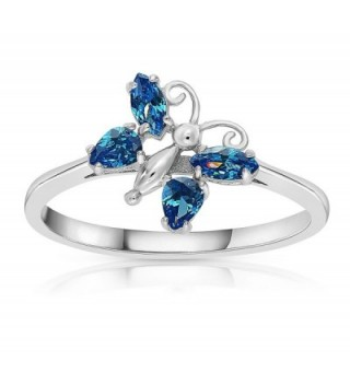 Sterling Silver Zirconia Simulated Butterfly
