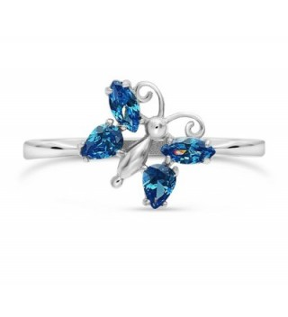 Sterling Silver Zirconia Simulated Butterfly in Women's Statement Rings
