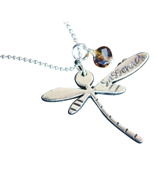 Dragonfly Sassenach Necklace - Pewter-Plated Pendant with Amber Colored Gem on Stainless Steel Ball Chain - CC11U6FW35L