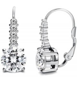 FIBO STEEL Stainless Steel Leverback Earrings for Women Drop Earrings CZ Inalid - B:Silver-tone - CP1857I7EEQ