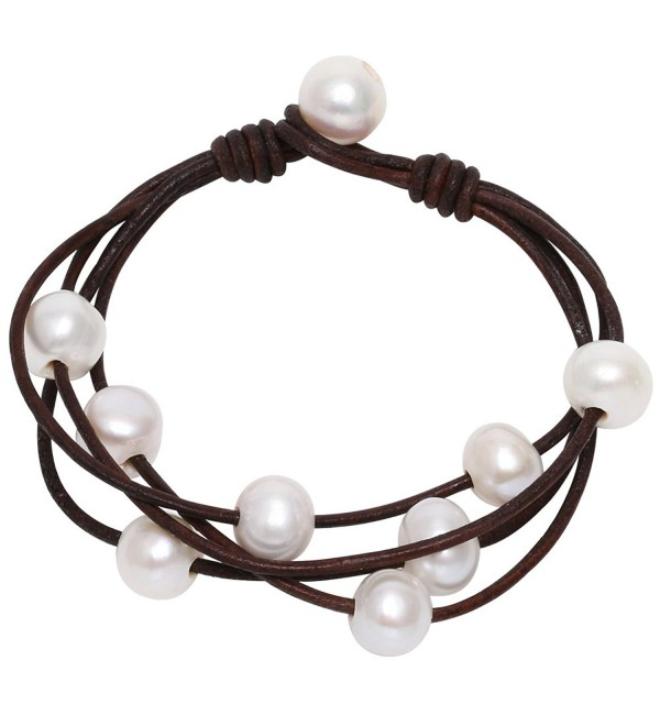 Leather Freshwater Cultured Pearls Wraps Bracelet Handmade Beaded Strands Jewelry on Genuine Leather Cord Women - C4121MEHT9J