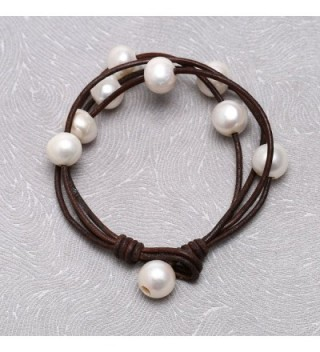 Freshwater Cultured Bracelet Handmade Women Brown in Women's Strand Bracelets