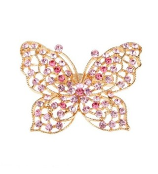 MagiDeal Butterfly Style Women's Girl Crystal Rhinestone Brooch Pin Fashion Jewelry (Choose color) - Pink - CP12H5MRTTH