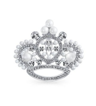 Bling Jewelry White Simulated Pearl Crystal Princess Crown Pin Brooch Rhodium Plated - CS11BS2HNK1