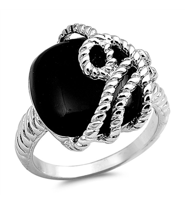 CHOOSE YOUR COLOR Sterling Silver Ring - Simulated Onyx - CM12G76ECB5