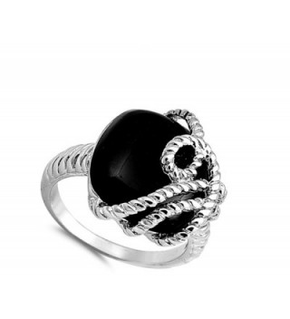 Simulated Polished Overlay Sterling Silver in Women's Band Rings