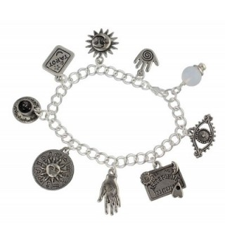 Fortune Teller Divination Pewter Charm Bracelet- Silver Plated Chain- Crystal Ball- Palm Reader- Tarot - C5187Y40OE2