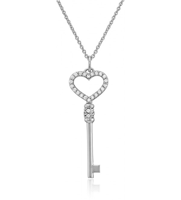 Myia Passiello Sterling Silver and Swarovski Zirconia Heart Key Necklace - C111DJ6JHD5
