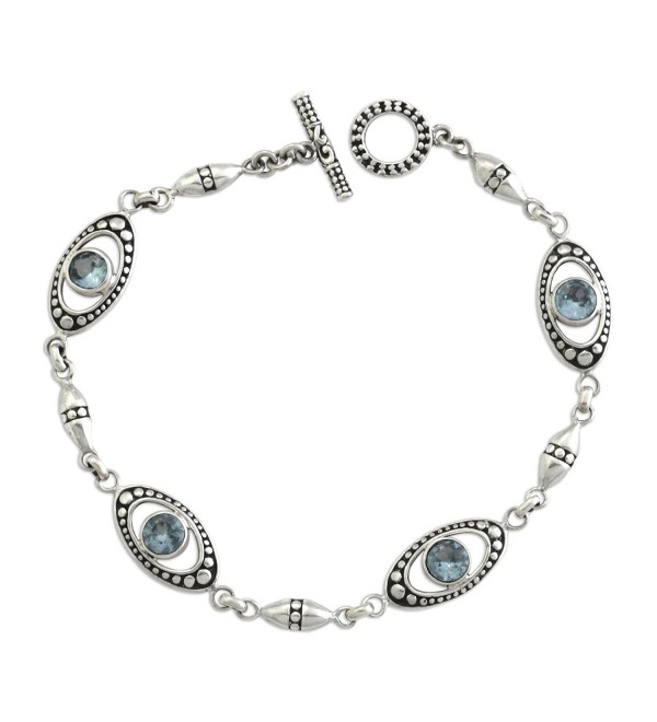 "NOVICA Blue Topaz and .925 Sterling Silver Link Bracelet 'Reflections in Blue'- 7.5"" - CG127WH4GXH"