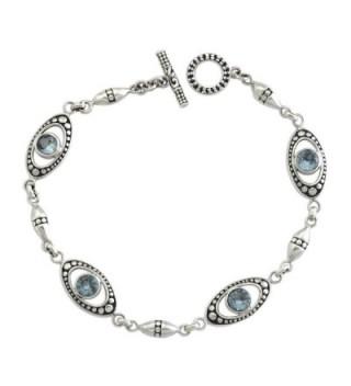 """NOVICA Blue Topaz and .925 Sterling Silver Link Bracelet 'Reflections in Blue'- 7.5"""" - CG127WH4GXH"""