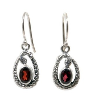 NOVICA Fair Trade .925 Sterling Silver and Garnet Stone Snake Earrings- 'Rainforest Goddess' - C511CUPMWHT